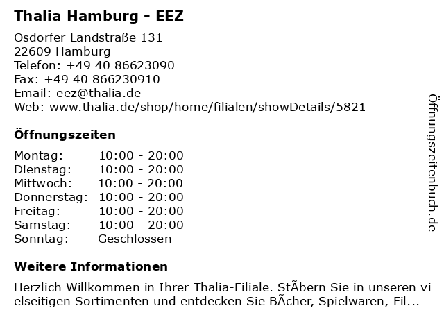 Thalia Hamburg - EEZ in Hamburg: Adresse und Öffnungszeiten