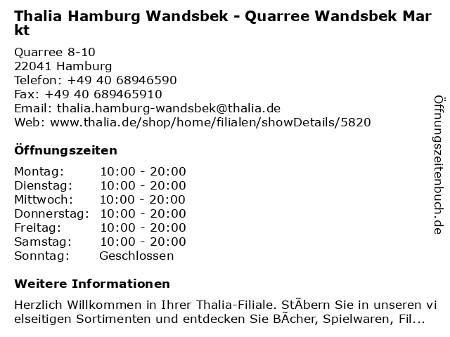 Thalia Hamburg Wandsbek - Quarree Wandsbek Markt in Hamburg: Adresse und Öffnungszeiten