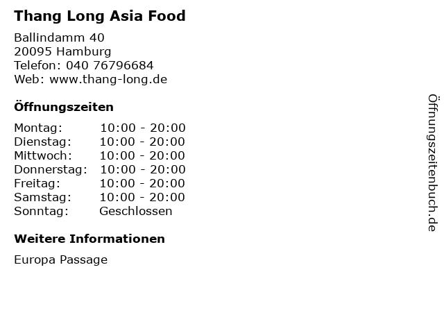 Thang Long Asia Food in Hamburg: Adresse und Öffnungszeiten