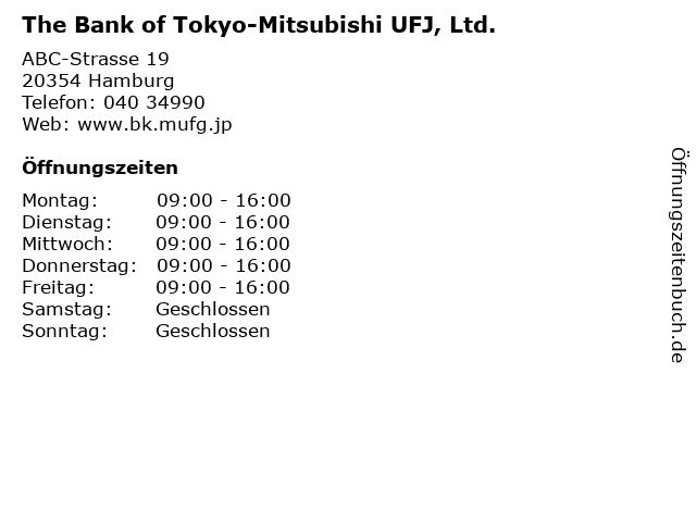 The Bank of Tokyo-Mitsubishi UFJ, Ltd. in Hamburg: Adresse und Öffnungszeiten