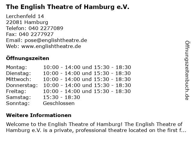 The English Theatre of Hamburg in Hamburg: Adresse und Öffnungszeiten