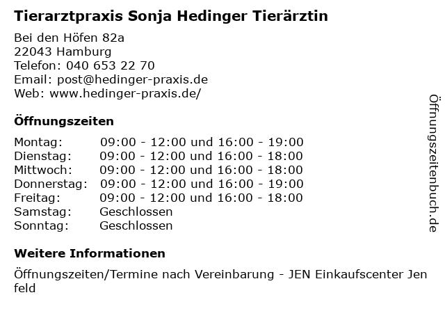 Tierarztpraxis Sonja Hedinger Tierärztin in Hamburg: Adresse und Öffnungszeiten