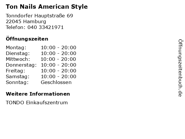 Ton Nails American Style in Hamburg: Adresse und Öffnungszeiten