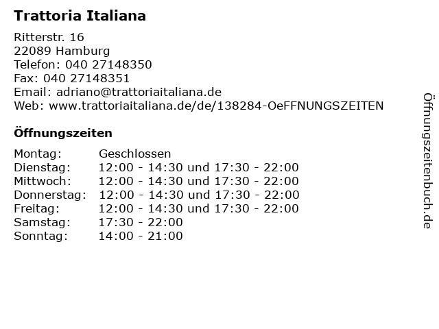 Trattoria Italiana in Hamburg: Adresse und Öffnungszeiten