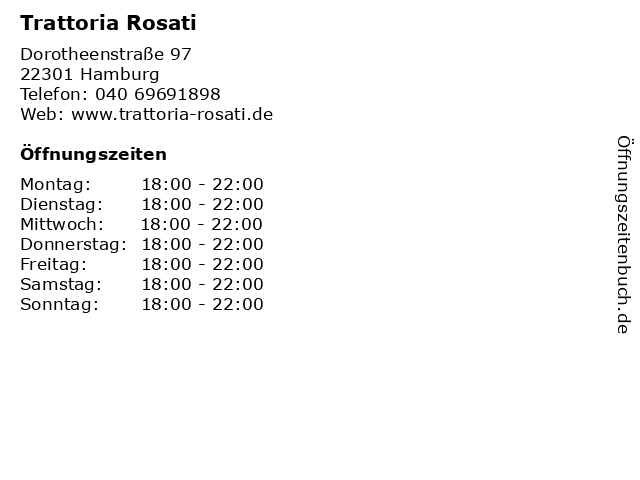 Trattoria Rosati in Hamburg: Adresse und Öffnungszeiten