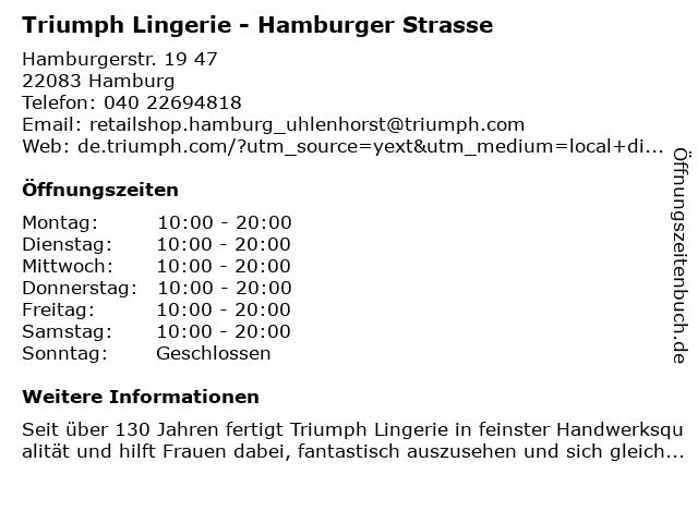 Triumph Lingerie in Hamburg: Adresse und Öffnungszeiten