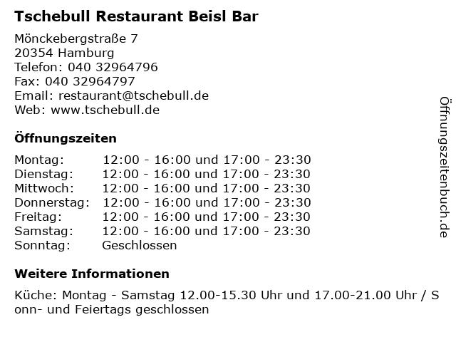 Tschebull Restaurant Beisl Bar in Hamburg: Adresse und Öffnungszeiten