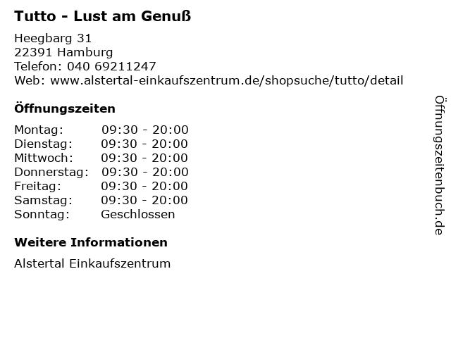 Tutto - Lust am Genuß in Hamburg: Adresse und Öffnungszeiten