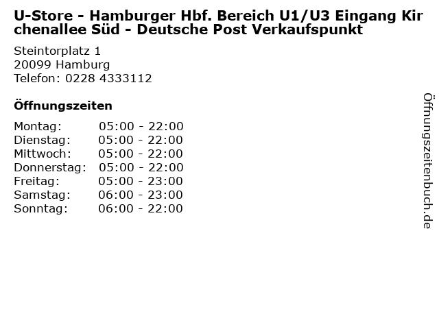 U-Store - Hamburger Hbf. Bereich U1/U3 Eingang Kirchenallee Süd - Deutsche Post Verkaufspunkt in Hamburg: Adresse und Öffnungszeiten
