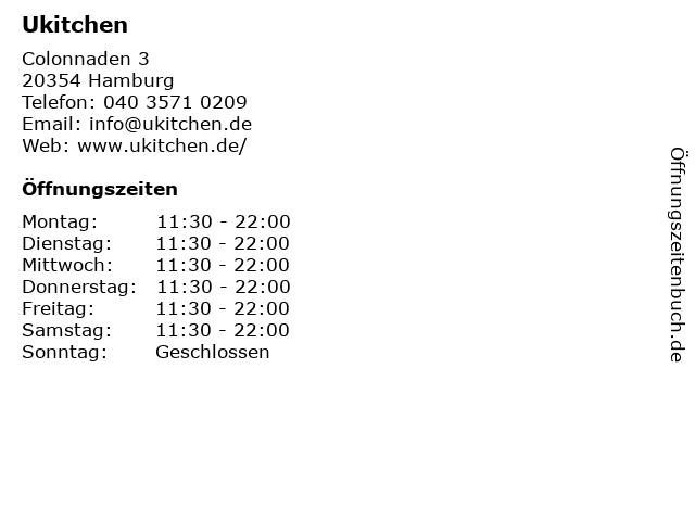 Ukitchen in Hamburg: Adresse und Öffnungszeiten
