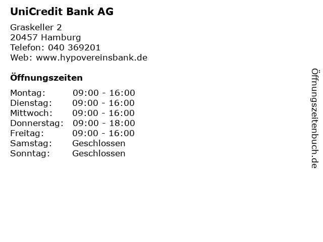 UniCredit Bank AG in Hamburg: Adresse und Öffnungszeiten