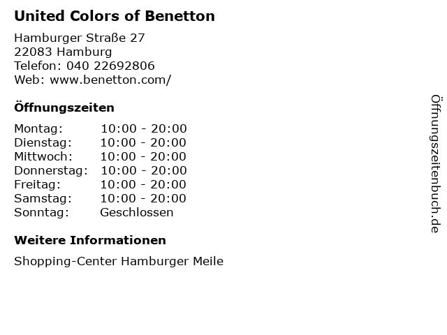 United Colors of Benetton in Hamburg: Adresse und Öffnungszeiten