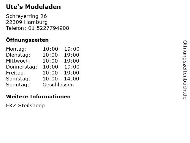 Ute's Modeladen in Hamburg: Adresse und Öffnungszeiten