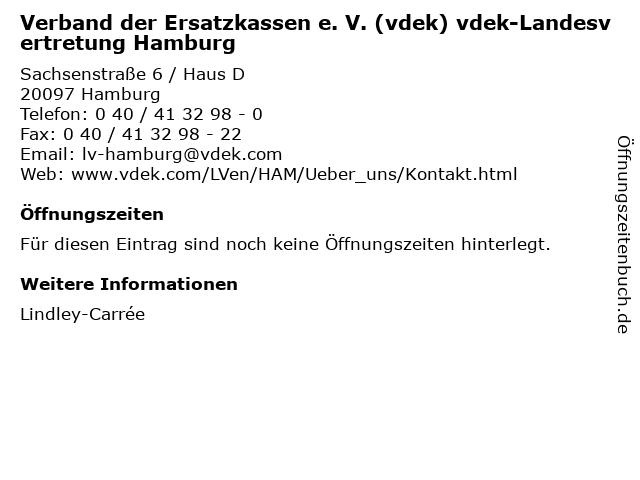 Verband der Ersatzkassen e. V. (vdek) vdek-Landesvertretung Hamburg in Hamburg: Adresse und Öffnungszeiten