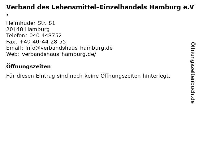 Verband des Lebensmittel-Einzelhandels Hamburg e.V. in Hamburg: Adresse und Öffnungszeiten