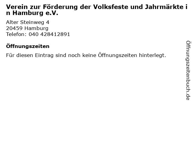 Verein zur Förderung der Volksfeste und Jahrmärkte in Hamburg e.V. in Hamburg: Adresse und Öffnungszeiten
