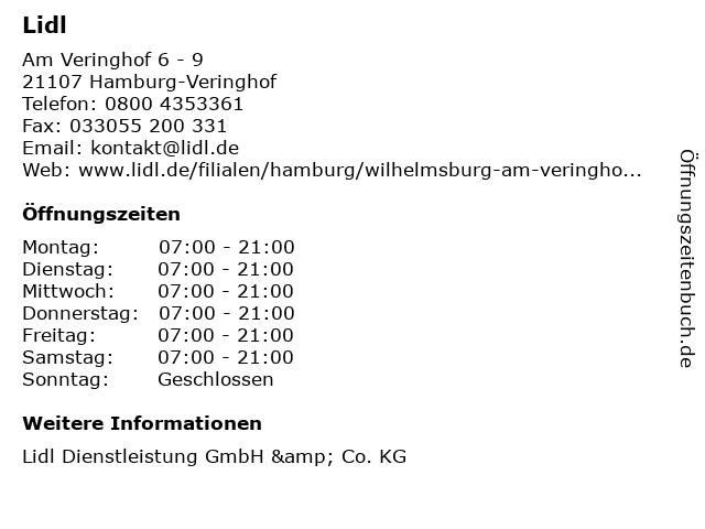 Lidl in Hamburg-Veringhof: Adresse und Öffnungszeiten