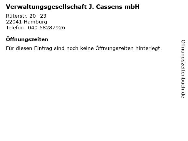 Verwaltungsgesellschaft J. Cassens mbH in Hamburg: Adresse und Öffnungszeiten