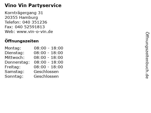 Vino Vin Partyservice in Hamburg: Adresse und Öffnungszeiten