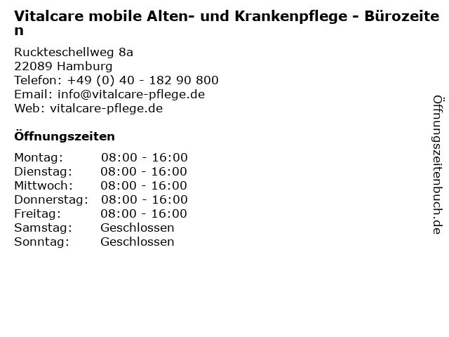 Vitalcare mobile Alten- und Krankenpflege - Bürozeiten in Hamburg: Adresse und Öffnungszeiten