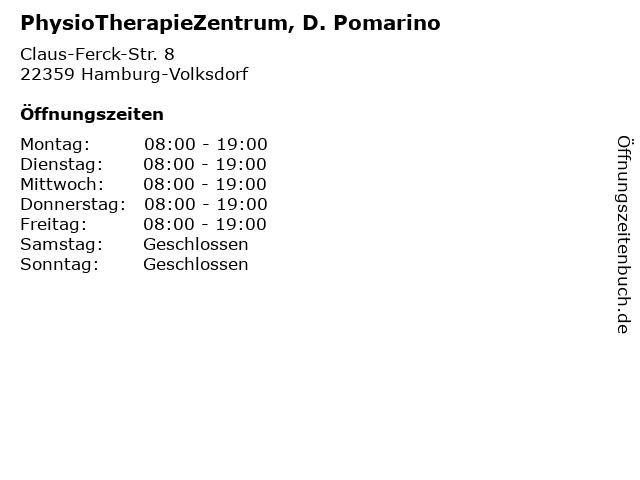 PhysioTherapieZentrum, D. Pomarino in Hamburg-Volksdorf: Adresse und Öffnungszeiten