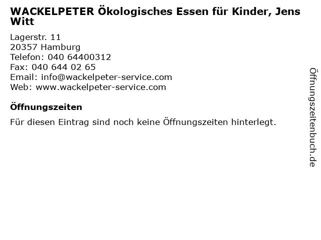 WACKELPETER Ökologisches Essen für Kinder, Jens Witt in Hamburg: Adresse und Öffnungszeiten