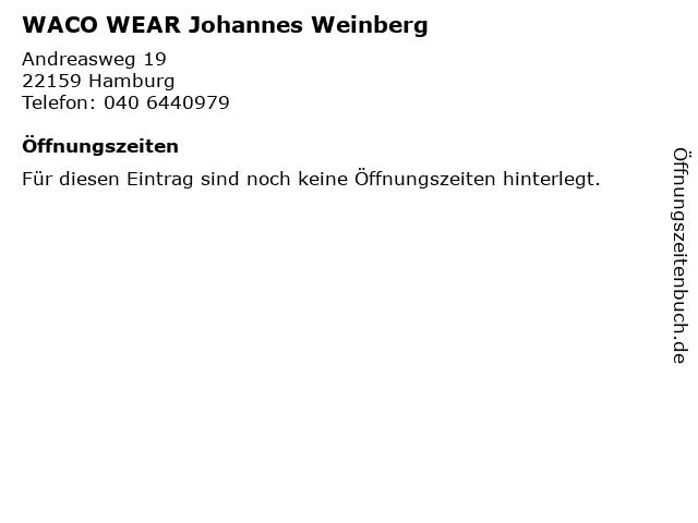 WACO WEAR Johannes Weinberg in Hamburg: Adresse und Öffnungszeiten