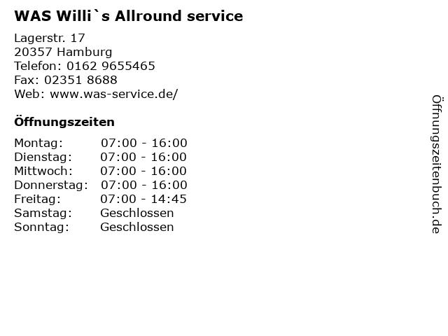 WAS Willi`s Allround service in Hamburg: Adresse und Öffnungszeiten