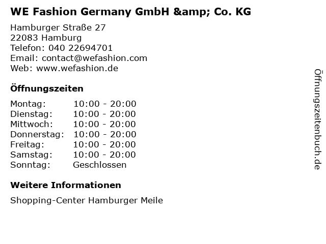 WE Fashion Germany GmbH & Co. KG in Hamburg: Adresse und Öffnungszeiten