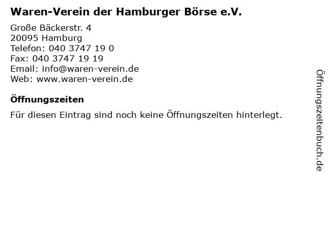Waren-Verein der Hamburger Börse e.V. in Hamburg: Adresse und Öffnungszeiten