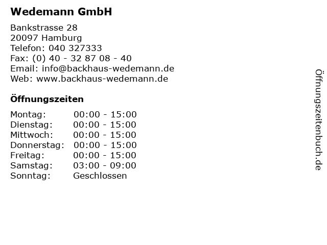 Wedemann GmbH in Hamburg: Adresse und Öffnungszeiten