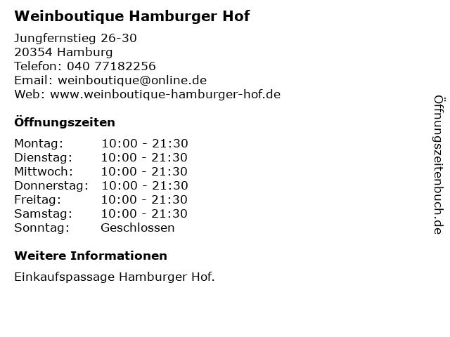 Weinboutique Hamburger Hof in Hamburg: Adresse und Öffnungszeiten