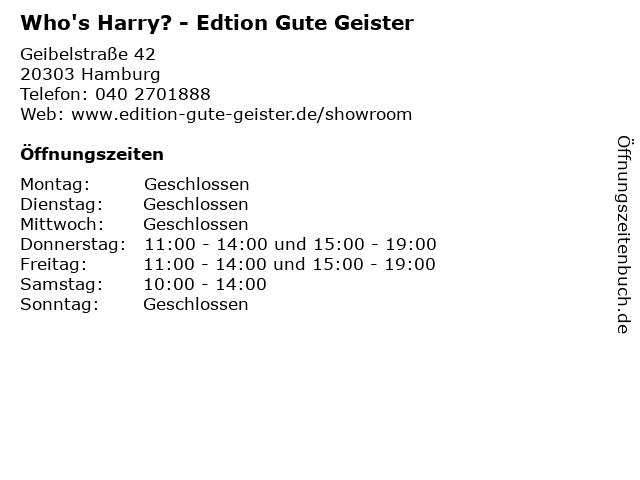 Who's Harry? - Edtion Gute Geister in Hamburg: Adresse und Öffnungszeiten