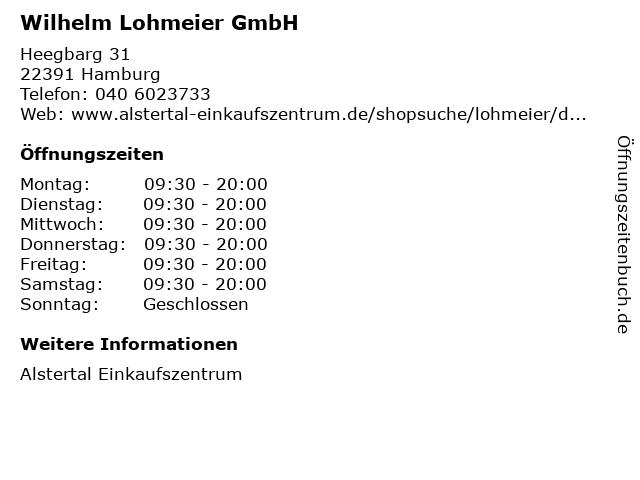 Wilhelm Lohmeier GmbH in Hamburg: Adresse und Öffnungszeiten