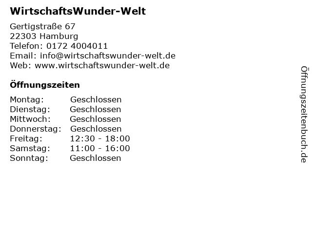 WirtschaftsWunder-Welt in Hamburg: Adresse und Öffnungszeiten