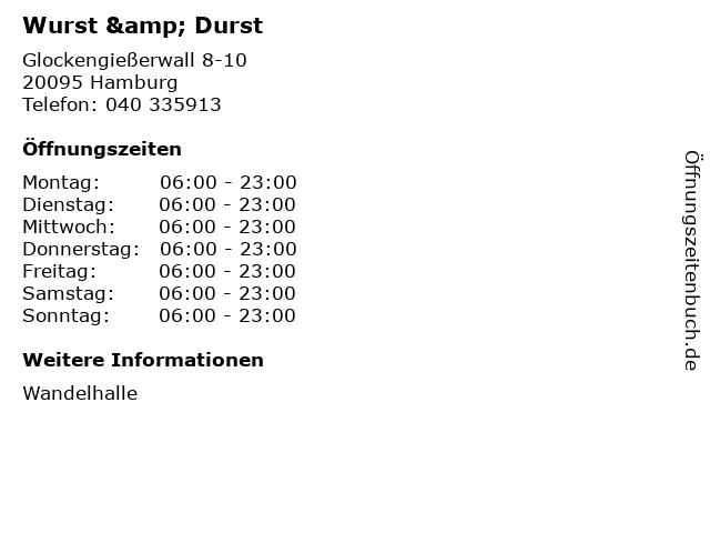 Wurst & Durst in Hamburg: Adresse und Öffnungszeiten