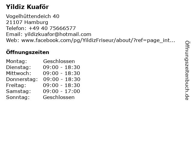 Yildiz Kuaför in Hamburg: Adresse und Öffnungszeiten