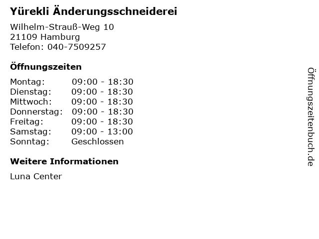 Yürekli Änderungsschneiderei in Hamburg: Adresse und Öffnungszeiten