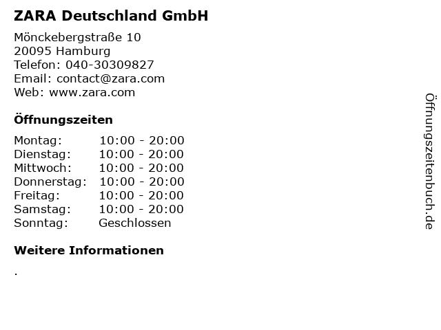 ZARA Deutschland GmbH in Hamburg: Adresse und Öffnungszeiten