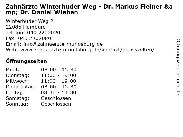 Zahnärzte Winterhuder Weg - Dr. Markus Fleiner & Dr. Daniel Wieben in Hamburg: Adresse und Öffnungszeiten