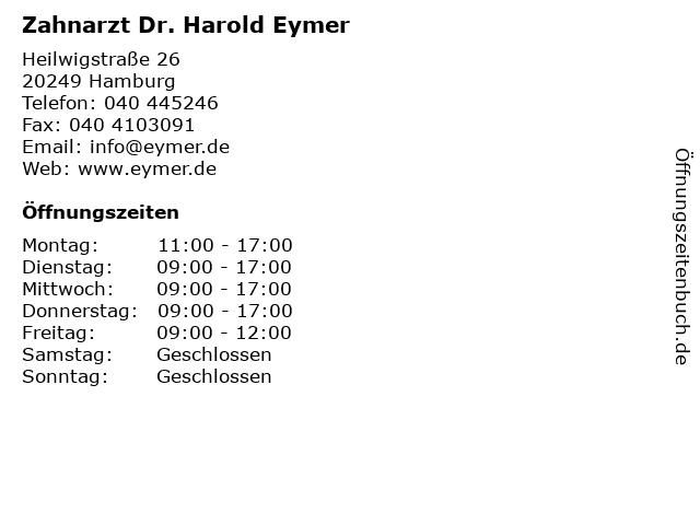 Zahnarzt Dr. Harold Eymer in Hamburg: Adresse und Öffnungszeiten