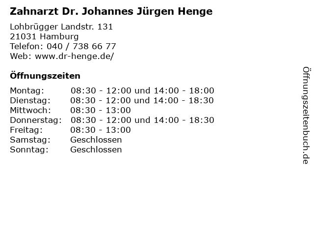 Zahnarzt Dr. Johannes Jürgen Henge in Hamburg: Adresse und Öffnungszeiten
