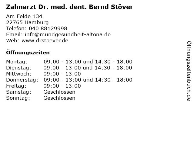 Zahnarzt Dr. med. dent. Bernd Stöver in Hamburg: Adresse und Öffnungszeiten
