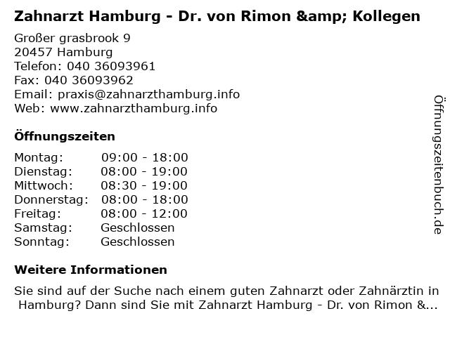 Zahnarzt Hamburg - Dr. von Rimon & Kollegen in Hamburg: Adresse und Öffnungszeiten