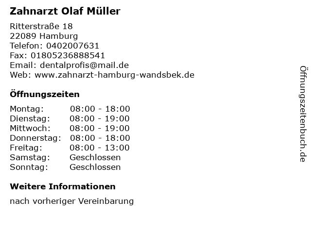 Zahnarzt Olaf Müller in Hamburg: Adresse und Öffnungszeiten