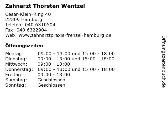 Zahnarzt Thorsten Wentzel in Hamburg: Adresse und Öffnungszeiten