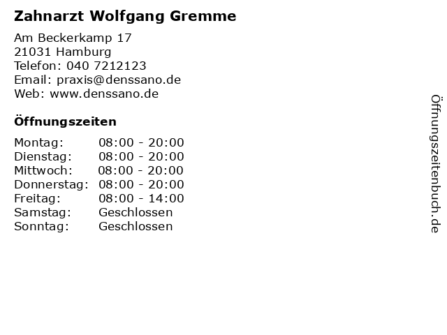Zahnarzt Wolfgang Gremme in Hamburg: Adresse und Öffnungszeiten