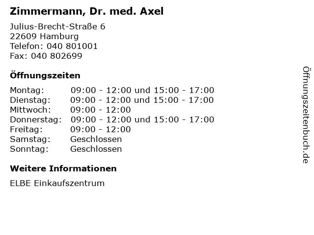 Zimmermann, Dr. med. Axel in Hamburg: Adresse und Öffnungszeiten