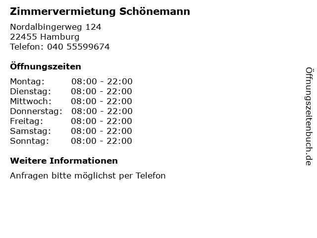 Zimmervermietung Schönemann in Hamburg: Adresse und Öffnungszeiten