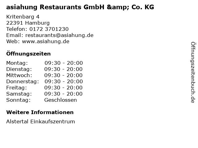 asiahung Restaurants GmbH & Co. KG in Hamburg: Adresse und Öffnungszeiten